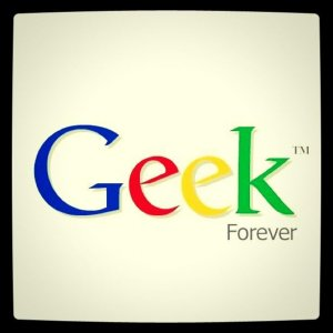 Image of the word Geek in the style of Google