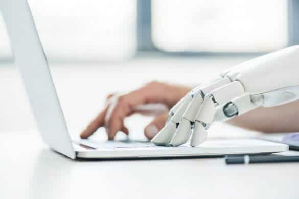 Robot and human hand typing